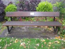 Bench adjacent to Mary Garden garden