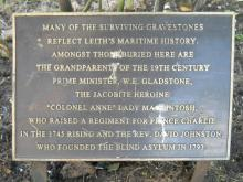 Photo of plaque - Colonel Anne - North Leith Churchyard