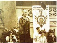 Chrystal Macmillan speaking at the Congress of the International Woman Suffrage Alliance in Rome 1923.