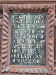 Plaque to Lady Caroline Charteris
