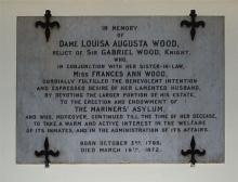 Plaque to Dame Louisa Augusta Wood