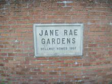 Street sign for Jane Rae gardens