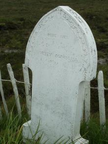 Close up of Betty Corrigall's grave stone