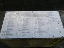 Plaque naming Martyrs and Covenanters who were hanged in Edinburgh between 1661 and 1688