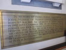 Flora Murray memorial plaque -  broad view