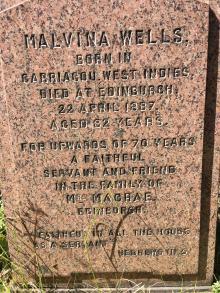 Gravestone of Malvina Wells