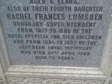 Gravestone of Rachel F Lumsden