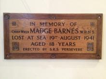 Plaque to Madge Barnes