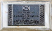 Plaque to Louisa Stevenson and Christian Guthrie Wright at 5 Atholl Crescent Edinburgh