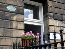 Plaque to The Stevenson Sisters (Flora Clift and Louisa) at 13 Randolf Crescent Edinburgh