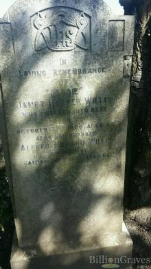 Gravestone of (Jessie) Janet Harper Willis at Portobello Cemetary