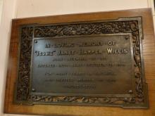 Plaque to (Jessie) Janet Harper Willis at St Mark's Church, Portobello