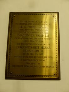Plaque to Ella Pirrie at former Kirk o' Field, now Greyfriars' Charteris Centre