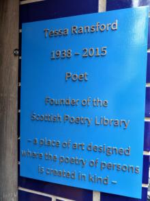 Plaque to Tessa Ransford at the Scottish Poetry Library, Edinburgh