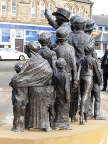 Part of Mary Barbour statue at Govan Cross