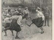 Illustration of the first women's football international, Scotland v England in Edinburgh