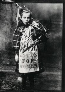 Bessie Watson aged 9, dressed ready to join the Womens Franchise Procession and Demonstration in October 1909