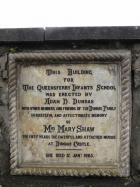 Stone tablet to Mrs Mary Shaw on the wall outside South Queensferry Library, Shore Road