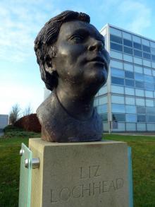 Bust of Liz Lochhead at Edinburgh Sculpture Park