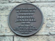 Plaque to Jennie Lee at 9 Buccleuch Place, Edinburgh