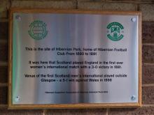 Plaque at Hibernian Football Supporters Club, Edinburgh