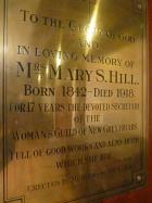 Plaque to Mrs Mary S Hill