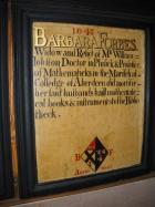 Mortification Board commemorating Barbara Forbes