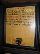 Mortification Board commemorating Katherine Forbes, Lady Rothiemay.
